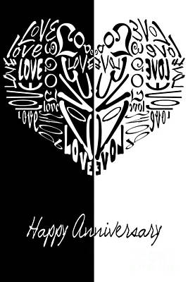 Digital Art - Love Heart-happy Anniversary Card by Wendy Wilton