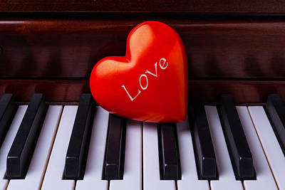 Piano Photograph - Love Heart On Piano by Garry Gay