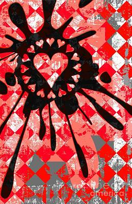 Emo Digital Art - Love Heart Splatter by Roseanne Jones