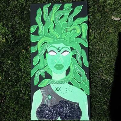 Green Painting - Medusa by BookishSiren
