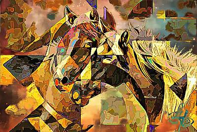Digital Art - Love Horses by Lynda Payton