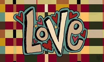 Folkart Mixed Media - Love II by Jennifer Heath Henry