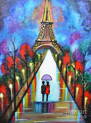 Love Painting - Love In Paris Romantic Painting Giftart by Manjiri Kanvinde