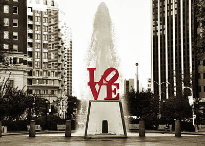 Sepia Photograph - Love In Philadelphia by Bill Cannon