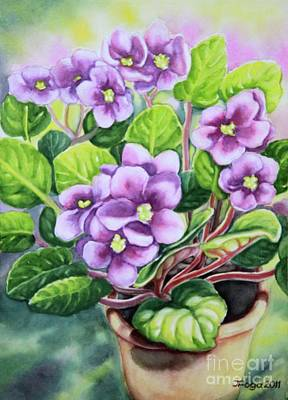 Art Print featuring the painting Love In Purple 2 by Inese Poga