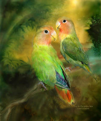 Lovebird Mixed Media - Love In The Golden Mist by Carol Cavalaris