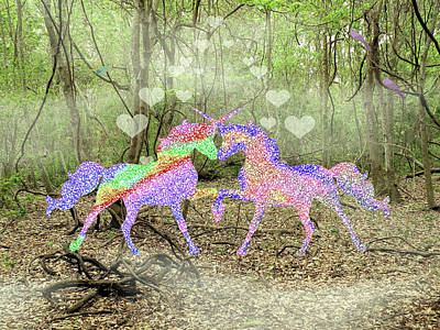 Mixed Media - Love In The Magical Forest by Rosalie Scanlon