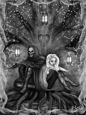 Painting - Love Is Complicated - Black And White Fantasy Art by Raphael Lopez