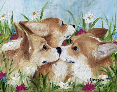 The Kiss Painting - Love Is In The Air by Mary Sparrow