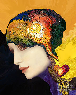 Spiritual Portrait Of Woman Painting - Love Hat by Art by Ela
