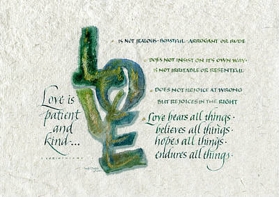 Encouragement Painting - Love Is  by Judy Dodds