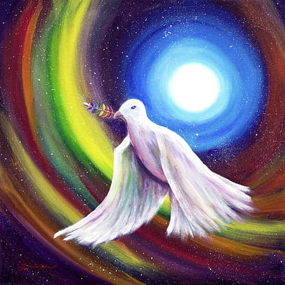 Chakra Rainbow Painting - Love Is Love Peace Dove by Laura Iverson