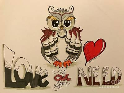 Drawing - Love Is Owl You Need by Eva Ason