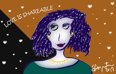 Thinking Of You Drawing - Love Is Shareable by Sharon Augustin