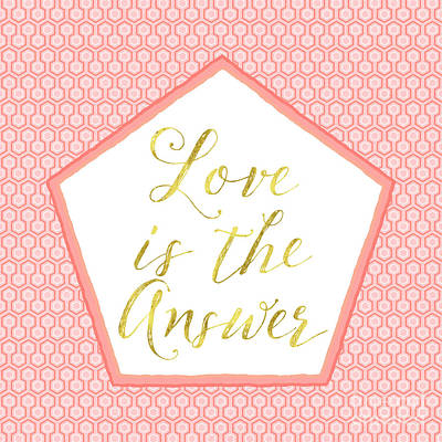 Love Is The Answer Coral, Gold Sentiment Text Art Art Print