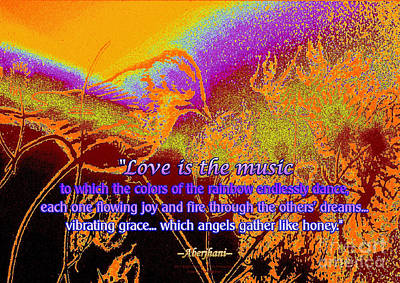 Digital Art - Love Is The Music by Aberjhani's Official Postered Chromatic Poetics