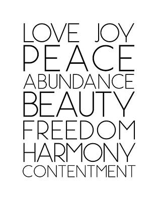Love Joy Peace Beauty Virtues Art Print
