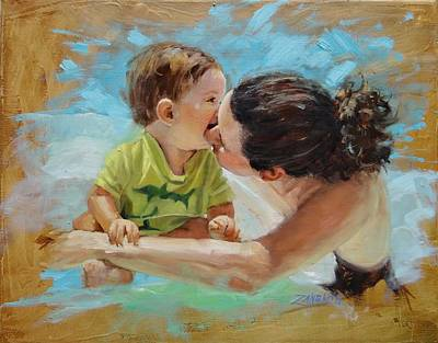 Child Portrait Painting - Love by Laura Lee Zanghetti