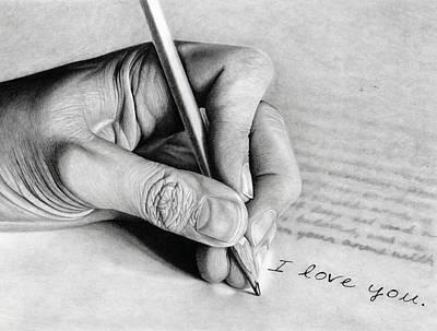Fingerprint Drawing - Love Letter by Paul Burges