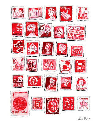Stamp Collection Painting - Love Letters Red Stamp Collection Romantic by Laura Row