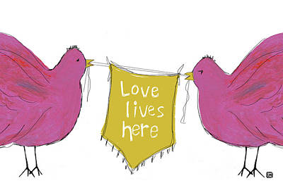 Painting - Love Lives Here Pink Birds by Lisa Weedn