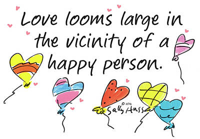 Wall Art - Painting - Love Looms Large by Sally Huss