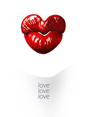 Digital Art - Love Poster by Attila Meszlenyi