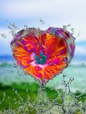 Digital Art - Love Makes A Splash by Rachel Hannah