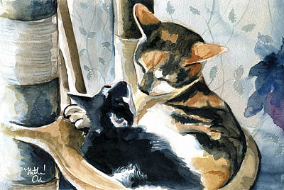 Painting - Love Me Tender - Cat Painting by Dora Hathazi Mendes