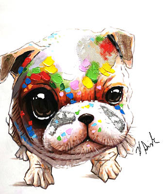 English Bull Dog Painting - Love My Pug  by Vanessa Sisk