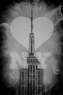 Skylines Digital Art - Love New York Bw by Az Jackson