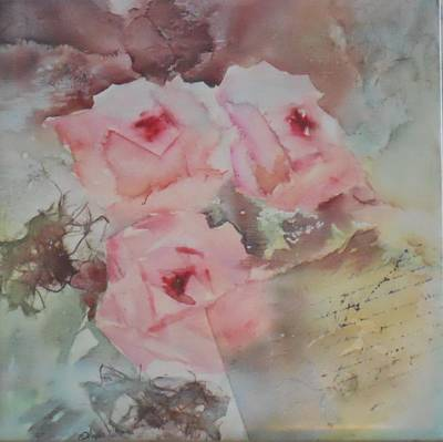 Rose. Collage Painting - Love Note by Phyllis Allen