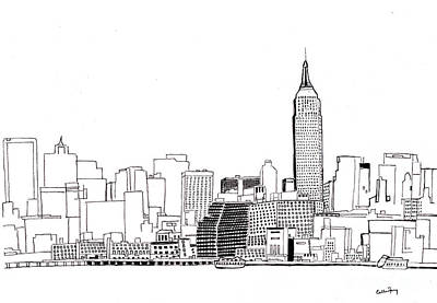 Empire State Building Drawing - Love Nyc Monochrome by Callan Percy