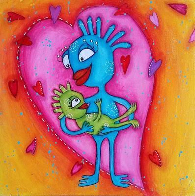 Mixed Media - Love Of A Mother by Barbara Orenya