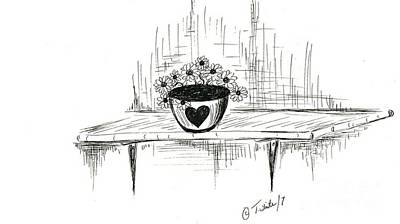 Drawing - Love Of Flowers  by Teresa White