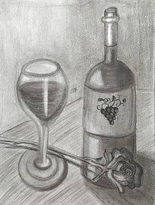 Wine Drawings - Love of Grapes by Tina White