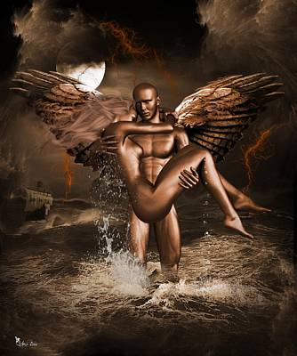 Digital Art - Love Of The Golden Angel 3 by Ali Oppy