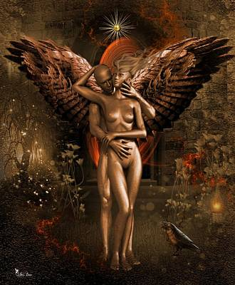 Digital Art - Love Of The Golden Angel by Ali Oppy
