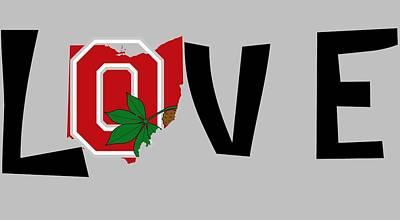 Football Mixed Media - Love Ohio by Dan Sproul