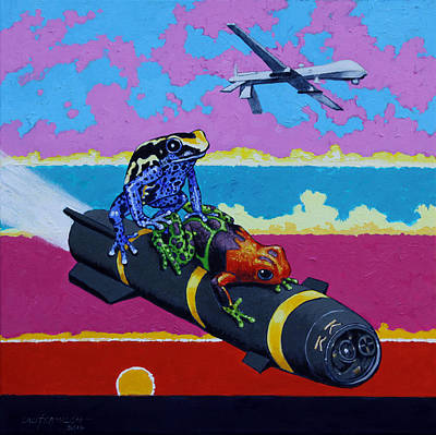 Painting - Love On Hell Fire Missile by John Lautermilch
