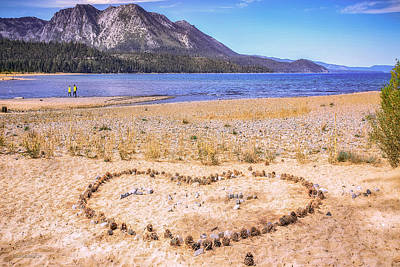 Heart Photograph - Love On The Beach Lake Tahoe by LeeAnn McLaneGoetz McLaneGoetzStudioLLCcom