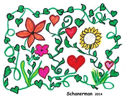 Uplifting Drawing - Love On The Vine by Susan Schanerman