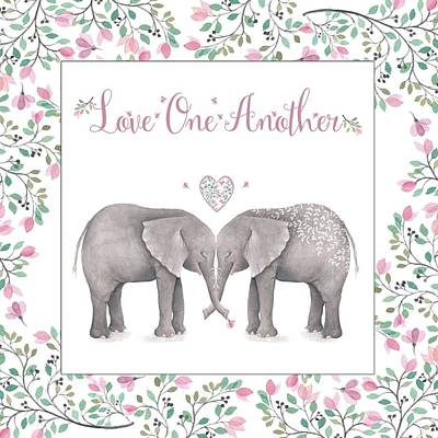 Photograph - Love One Another Pink Elephants Square by Terry DeLuco