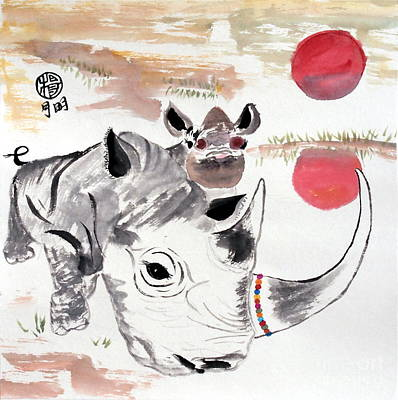 Poacher Painting - Love Our Rhinos by Ming Yeung