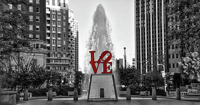 Photograph - Love Panorama - Black And White And Red by Bill Cannon
