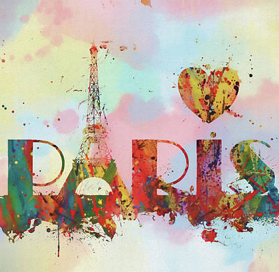 Paris Skyline Paintings - Love Paris by Dan Sproul