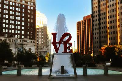 Fountains Photograph - Love Park - Love Conquers All by Bill Cannon