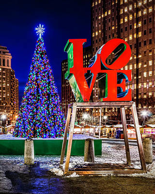 Photograph - Love Park Christmas  by Nick Zelinsky