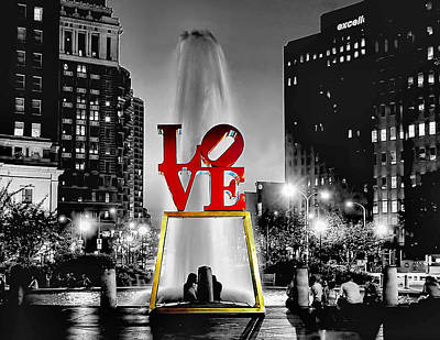 Photograph - Love Park - Mono by Nick Zelinsky