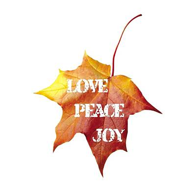 Word Painting - Love Peace Joy Carved On Fall Leaf by Georgeta Blanaru